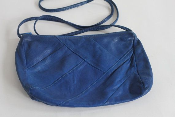 Vintage Butter Soft Leather Shoulder Bag  Blue Purse  Made