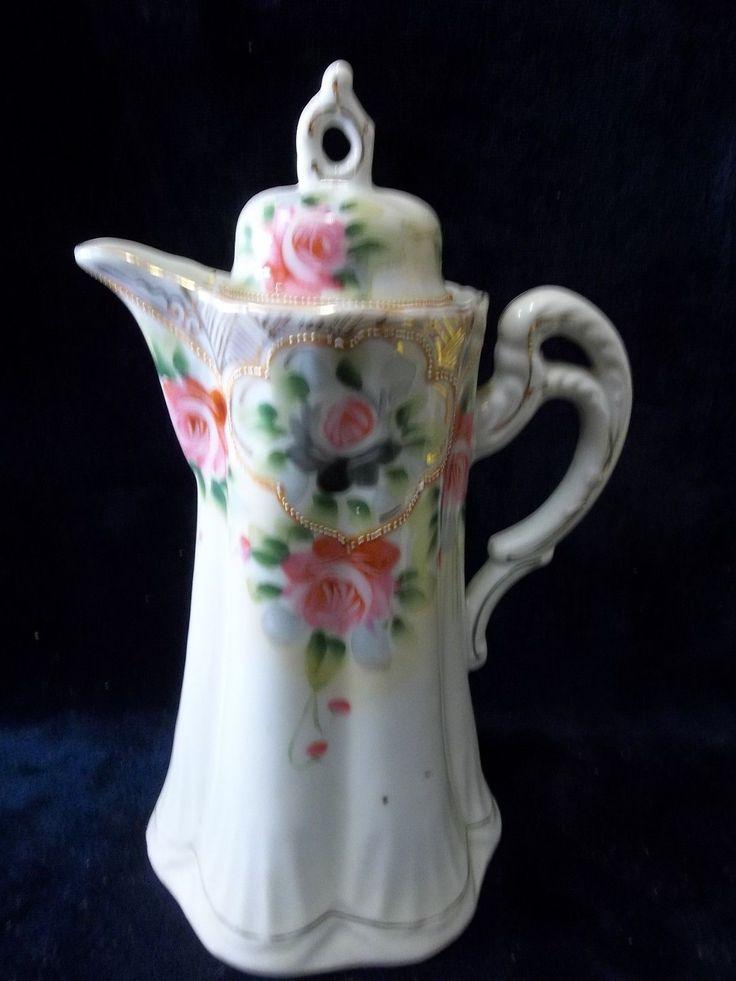 French Large Gold Trimmed Hand Painted Fine Porcelain Tea Pots