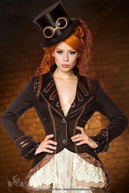 Außergewöhnlicher Frack im Steampunk-Stil mit geprägter Musterung und Zierborten. Die Jacke besticht durch Details aus Spitze, Satin und Netzstoff, vorne mit zwei Knöpfen geschlossen. Rückenlänge ca. 95 cm