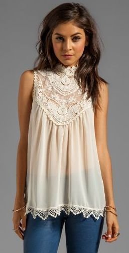 Love this lace top.