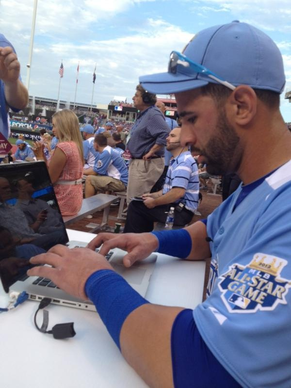 Jose Bautista after hitting 11 homers in the 1st round of the 2012 HR derby