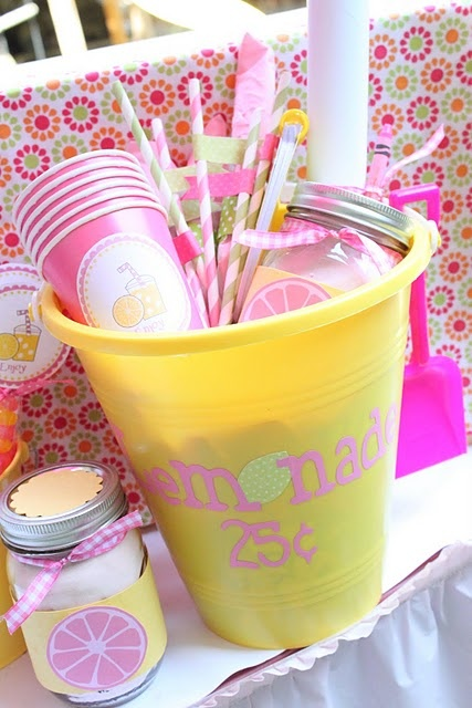 Lemonade stand in a pail-adorable gift idea for a summer birthday ... love it!