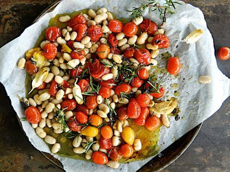 """Roasted cherry tomatoes and cannelli bean """"salad"""" - my kind of meal"""
