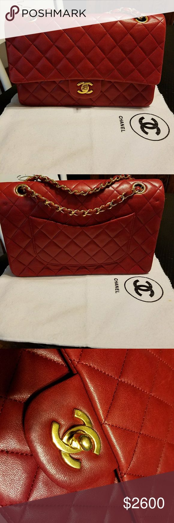 Red Chanel Double Flap Bag Medium sized beautiful red Chanel Double Flap Bag with 24k gold hardware. Red is a must for any Chanel admirer! Has a few hairline scratches throughout and some minor corner rubs see photos. Otherwise is good condition! Comes with dust bag.   Better price via paypel! CHANEL Bags