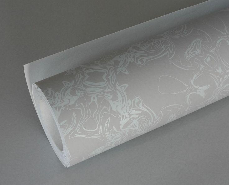 Detail - pale duck egg & dove grey wallpaper