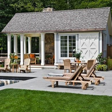 Waterfront property sells at a hefty premium. But don't be discouraged if you're landlocked. You can create your own home-by-the-sea environment with a pool house. Come along and dream with us.