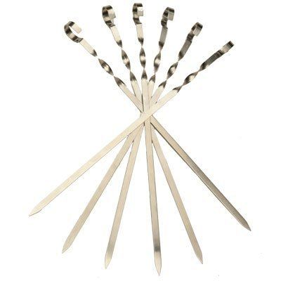 """6 Short Flat Stainless Steel Skewers. (L 17,7 /W 0,45 /T 0,05 Inch) . $24.00. Measures 17.7 inches long (45 Sm). Peel off label by hand. Place skewer on hot grill for 5 min. Wipe off what's left.. These skewers are for 1"""" to 1.5"""" size cubes of meat.. Stainless Steel. Not dishwasher safe. For those who like shish-kabobs, our flat metal skewers offer you strong and durable options when it is time for grilling. The sharp ends and sturdy design make it easy to put on the..."""