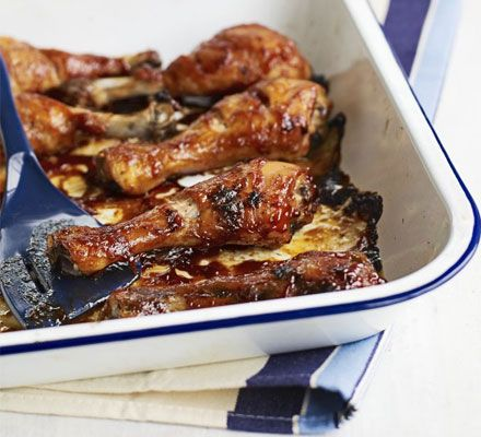These deliciously sticky chicken pieces are best eaten with plenty of napkins at the ready