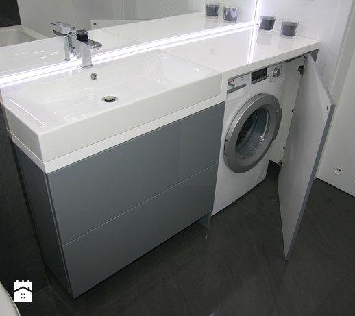 Aranżacje wnętrz - Łazienka: umywalka z pralką w zabudowie - ML Projekt. Przeglądaj, dodawaj i zapisuj najlepsze zdjęcia, pomysły i inspiracje designerskie. W bazie mamy już prawie milion fotografii!