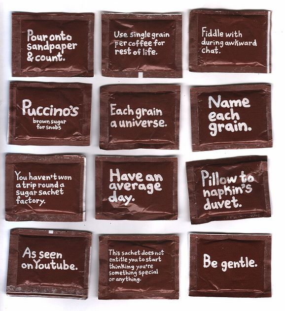Brilliant and quirky sugar sachet copy for Puccino's
