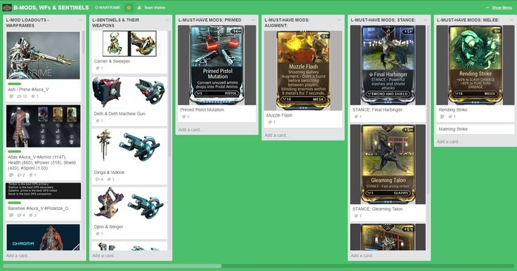 This is my Trello Warframe Board. It has (among other things) ALL of the mod loadouts for my frames. If you want Observer access send your email address to Gamer@CLMitchell.net!