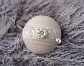 Rhinestone perla encaje diadema, venda del bebé, niña, venda, venda recién, Prop foto recién nacido, bebé niña diadema, diadema para bebé