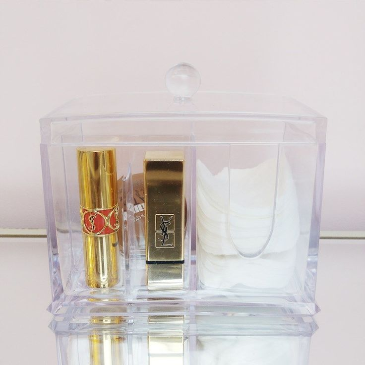 Caja transparente maquillaje - Pink Gold Madrid Caja de plástico transparente con tapa. Muy práctica para guardar artículos de maquillaje y cosmética.