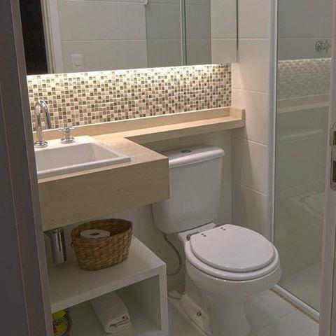 Inspiração | Banheiro pequeno e clean. Nós amamos 💜