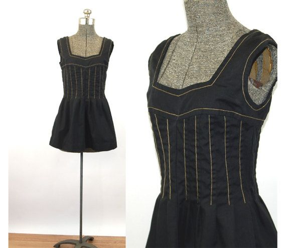 1970s smock top mini dress black gold corset top by vintagerunway