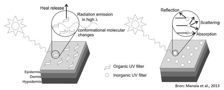 UV-bescherming chemische (organische) en minerale (anorganische) zonnefilters