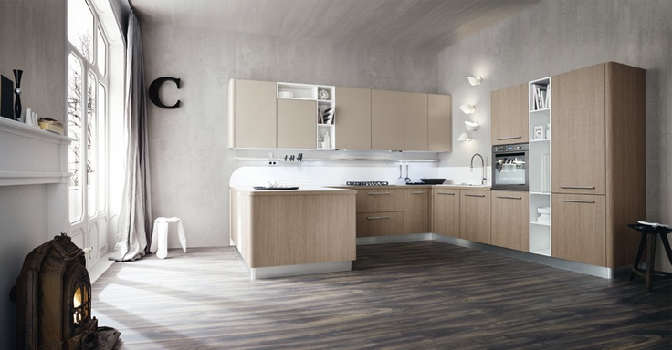 """Kitchen design for the present-day, Tao introduces the come-back of the """"wood grain"""" with its highly tactile surface combined with the """"sawn cut"""" effect that creates an interesting composition suitable for interior spaces more and more in demand."""