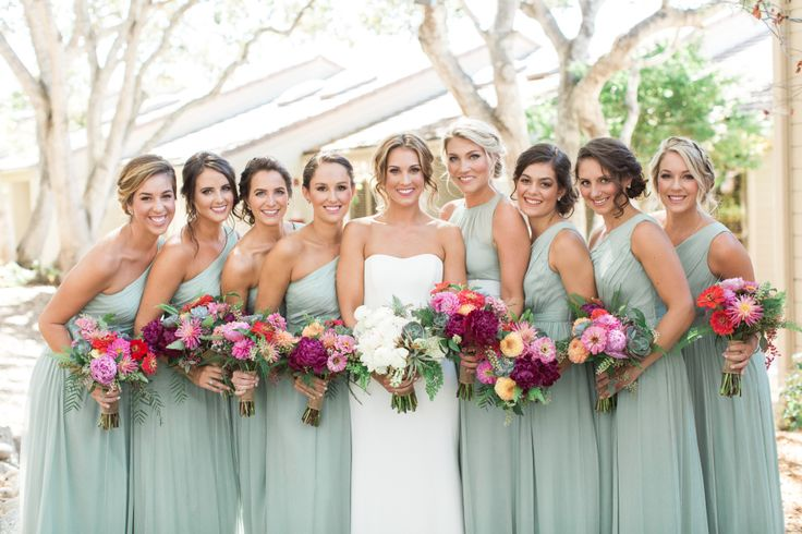 this wedding incorporates my muted wedding colors and eucalyptus style greenery with the bright, tropical bouquets. Definite inspiration wedding!!