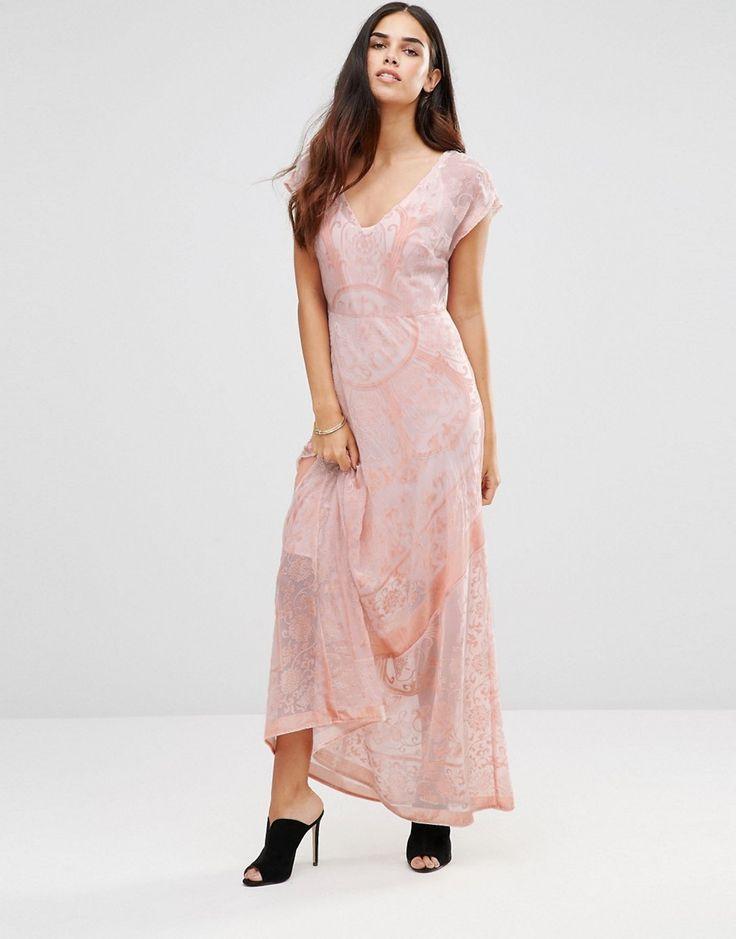 Jayley Rug Print Devore Maxi Dress