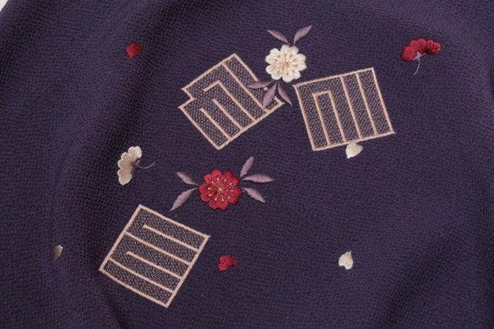 和装ショール正絹丹後ちりめん両面/リバーシブルショール紫×ローズピンク/源氏香花文刺繍入り礼装用「日本製」着物ショール大判二重縮緬