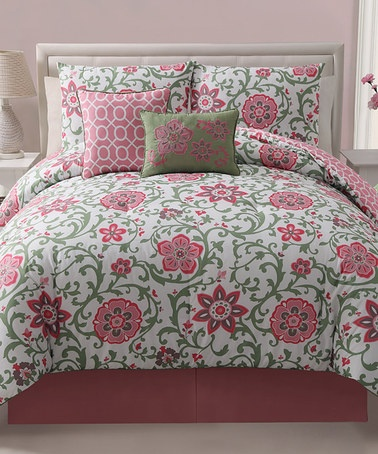 Take a look at this Pink Calista Reversible Comforter Set by Victoria Classics on #zulily today!