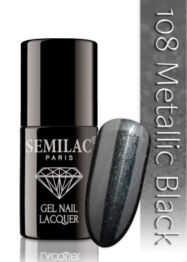 Semilac 108 Metallic Black UV&LED Nagellack