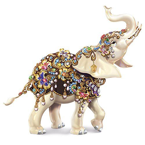 Elephant Figurine Inspired By Thomas Kinkadeu0026 Radiant Art And Graced With  31 Swarovski Crystals, Faux Gems And Faux Pearls.