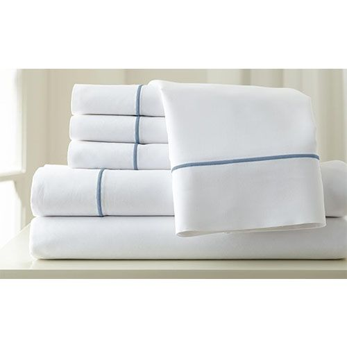 Italian Hotel White and Celestial Blue Six-Piece 1000 Thread Count Queen Sheet Set - (In No Image Available)