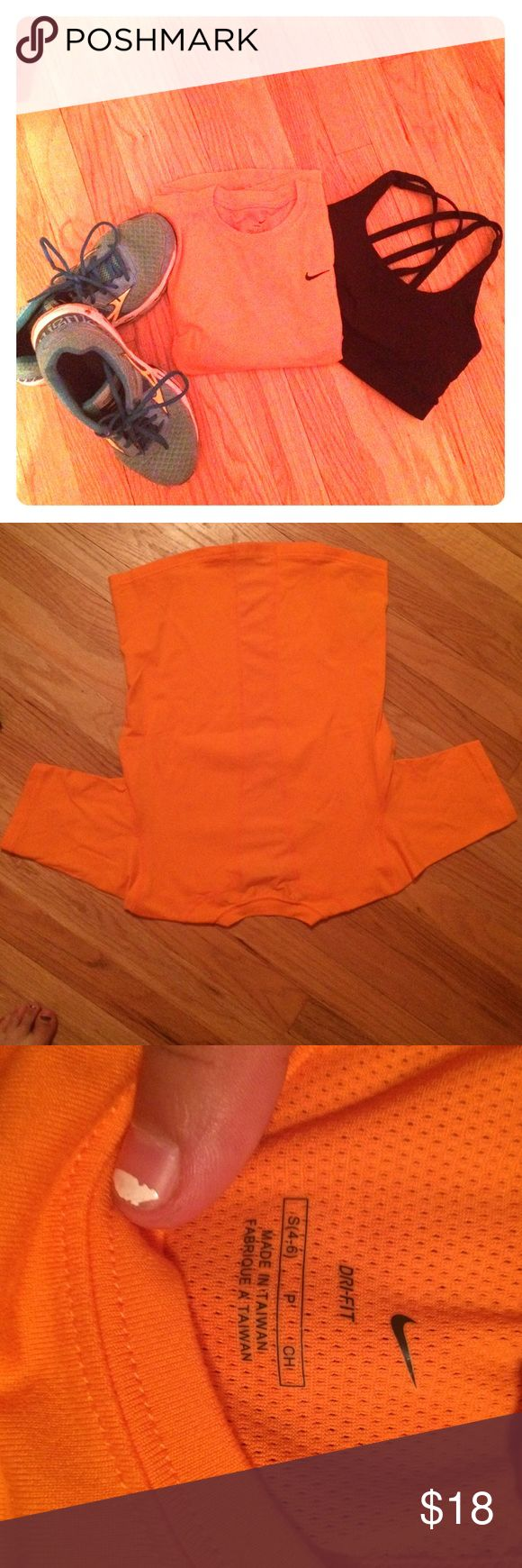 Dri-Fit orange tee I love this Nike top! it is super soft with a mesh racerback cutout as shown in second picture. This is in great condition! Any questions? Just ask!                                                                               👍🏽trades👍🏽Ⓜ️👎🅿️🅿️ Nike Tops Tees - Short Sleeve