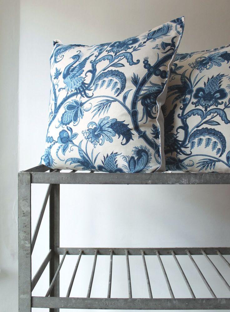 Image of Vintage Tree of Life Blue Giant Cushion