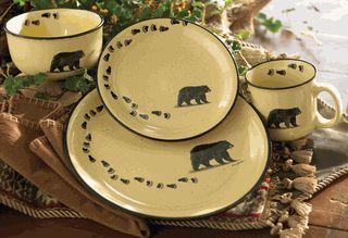 Black Bear Lodge Dinnerware Set - 16 pcs - $249.  Want.