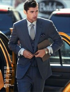 Grey business suit, businessman, business outfit for men. Learn how to make powerful first impression >>> http://justbestylish.com/how-to-make-powerful-first-impression/