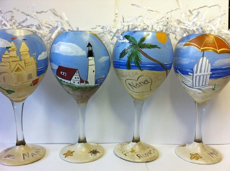 Personalized Beach Themed Wine Glasses Les Baux De Provence