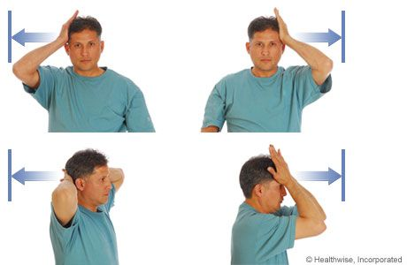 Picture of isometric exercises: hands on head