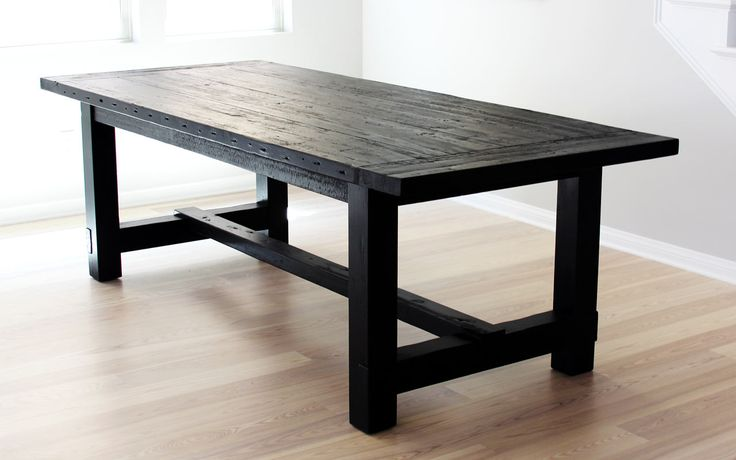 salvaged-wood-farmhouse-table-rustic love it in black