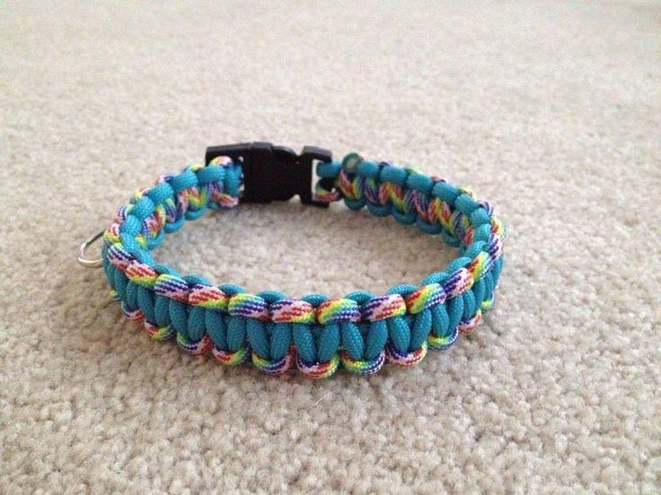 Paracord Dog collar Aqua and Rainbow