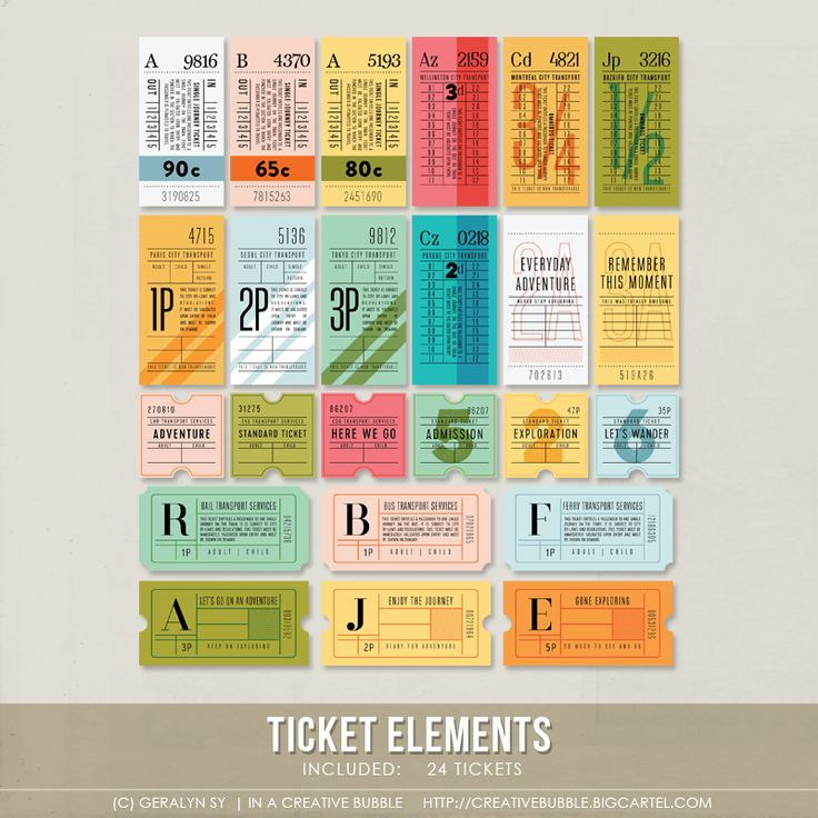 This set of twenty four vintage-inspired tickets is perfect for scrapbooking, Project Life and mini-books. Included in the zip file are individual high-resolution. png files and one printable .pdf page.This set contains: 24 - different designsNote: For personal use only. This is a downloadable product; no physical product will be sent. The download link to the .zip file containing the file will be emailed to your paypal email address once payment has been completed, norm...