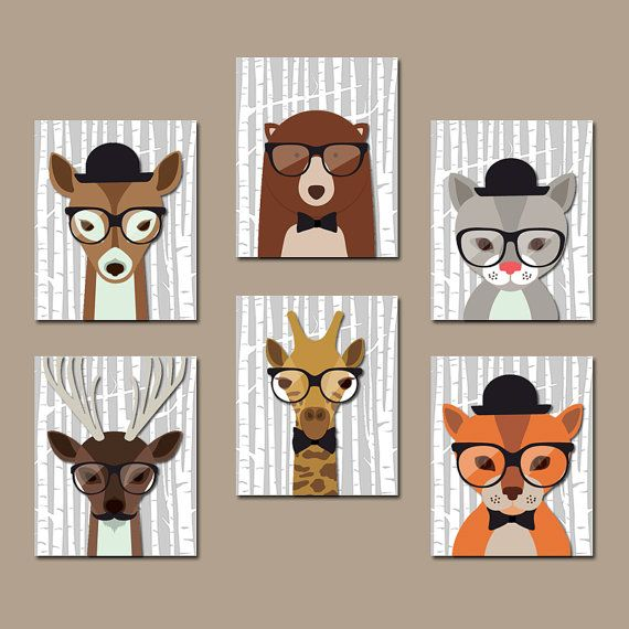 HIPSTER WOODLAND Animals Nursery Canvas or Prints por TRMdesign