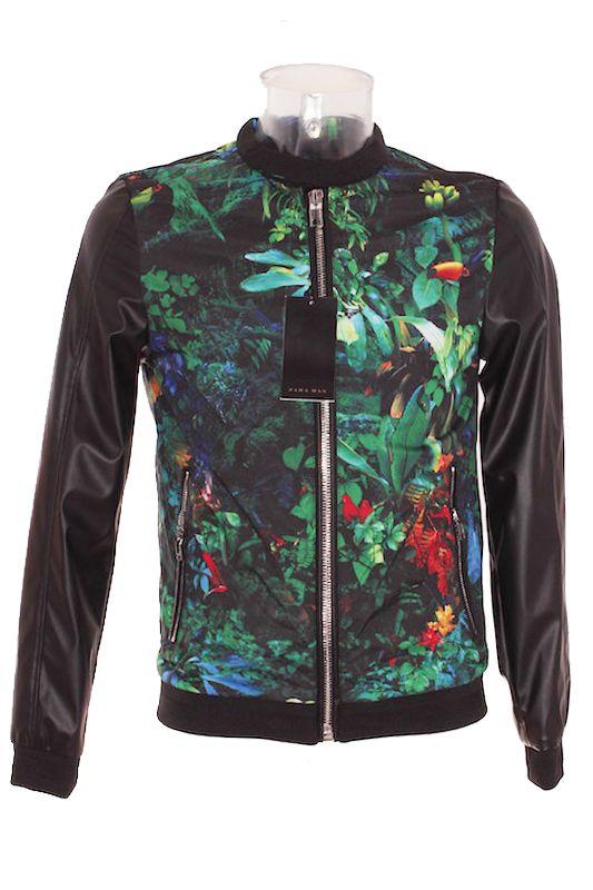 Cazadora Hombre – Zara Man Estilo Biker en Color Negro con Estampado Tropical de Segunda Mano El Armario de Alvaro