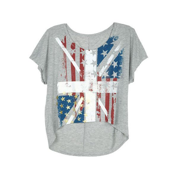American Flag Union Jack Tee ($5.99) ❤ liked on Polyvore featuring tops, t-shirts, shirts, blusas, graphic tees, graphic t shirts, graphic print t shirts, uk flag shirt, graphic shirts and graphic design t shirts