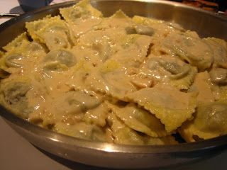 Mushroom Ravioli in Sherry Cream Sauce   Adapted from a simple Google search   Prep time:  seemed like forever, but probably just a couple ...