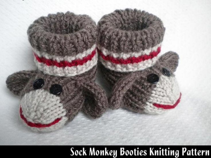 Sock Monkey Booties Pattern: http://knitting.myfavoritecraft.org/sock-monkey-booties-pattern/
