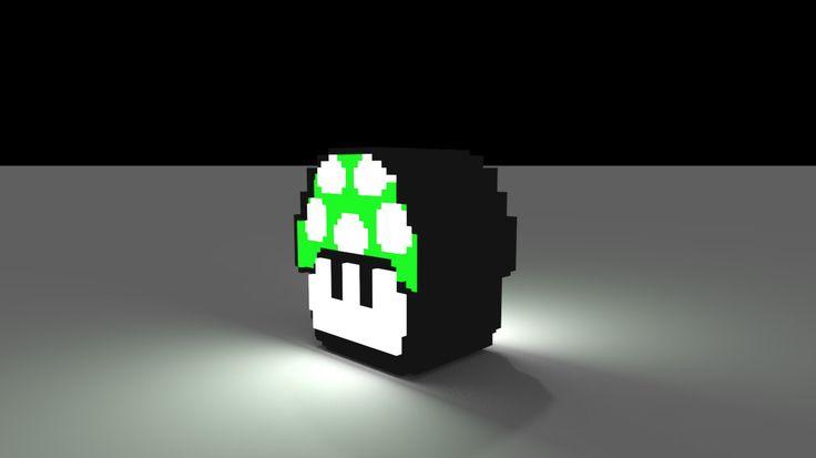 Mario Voxel Mushroom 3D Model - 3D Model