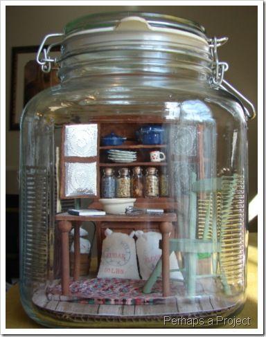 Miniature room in a jar - most unique miniature ever.