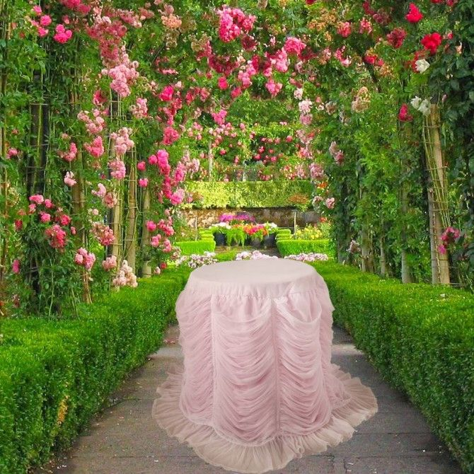 Luxury Pink Ruffled Fitted Tablecloth. Shabby Chic Tablecloth