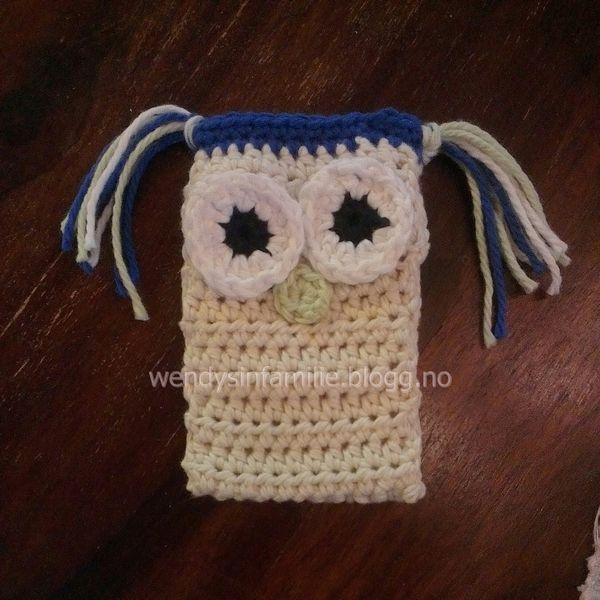 phone holder crochet hekle mobil holder ugle owl