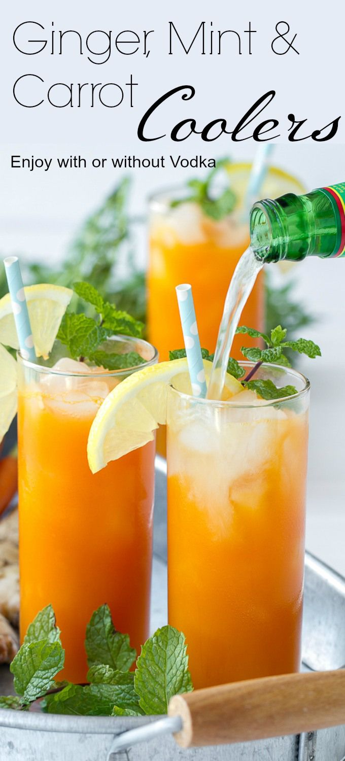 These Ginger Mint Carrot Coolers make a fantastic brunch cocktail. Or you can make them without the vodka for a virgin drink. So delicious, might just replace the Bloody Mary at your next brunch!