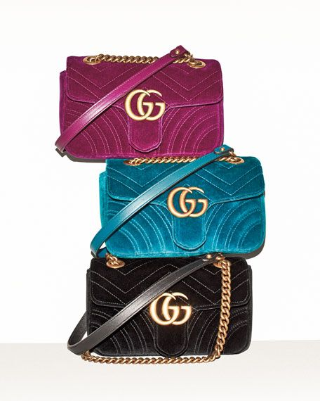 a9ec4e1de GG Marmont 2.0 Mini Quilted Velvet Crossbody Bag, Teal | Carry | Gucci  handbags, Bags, Gucci marmont bag