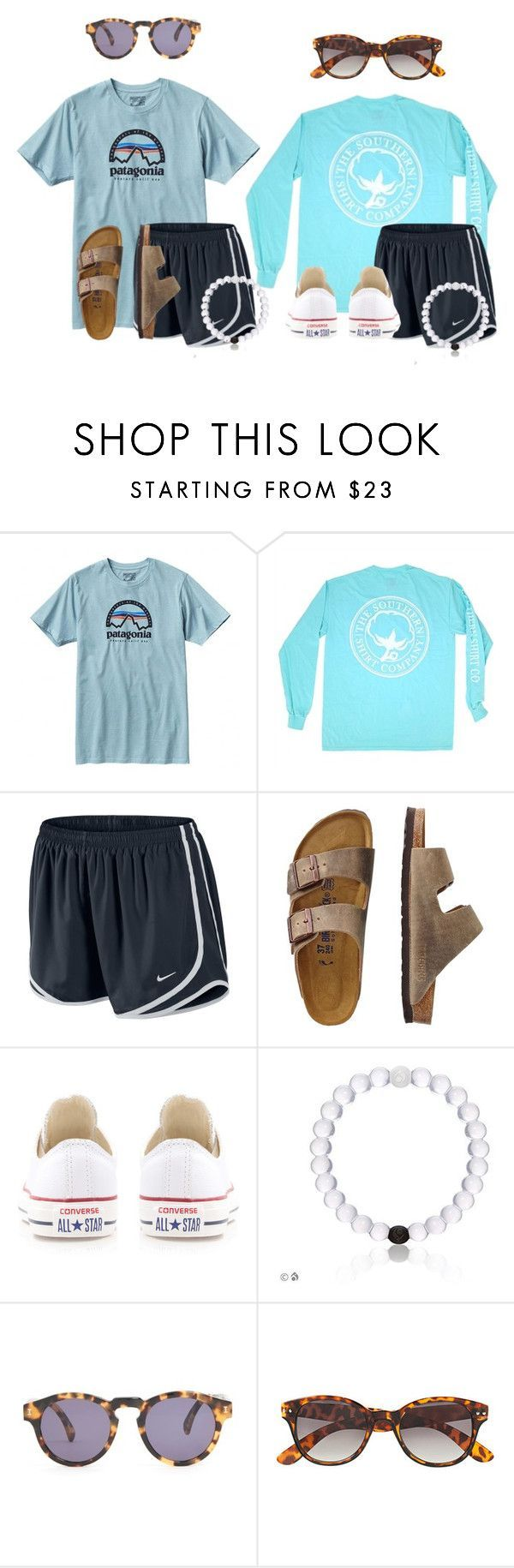 Which outfit are you! by flroasburn ❤ liked on Polyvore featuring Patagonia, NIKE, TravelSmith, Converse, Illesteva and HM