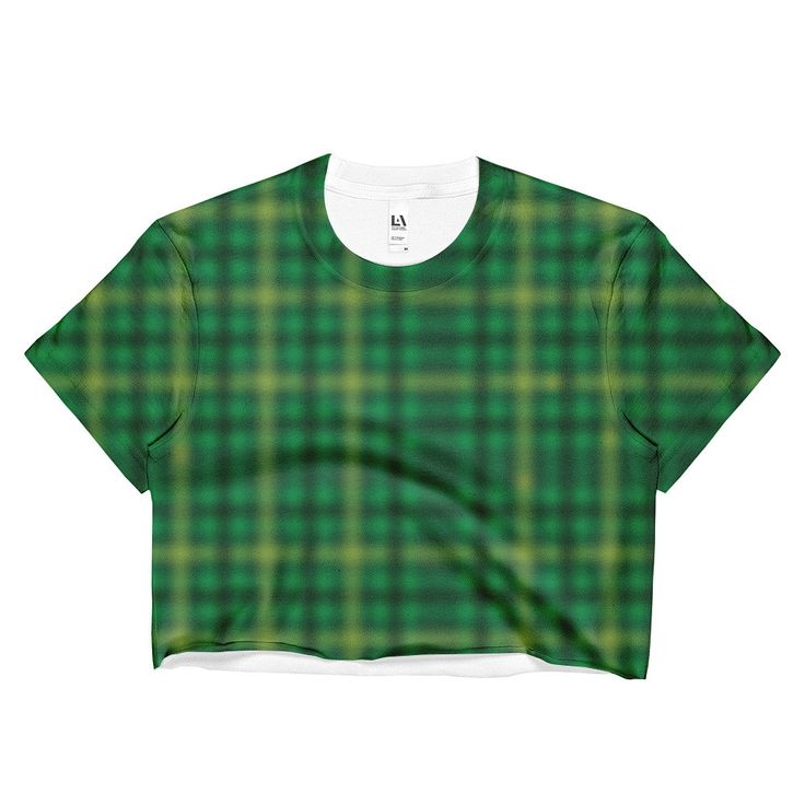 Green Irish Tartan Ladies Crop Top
